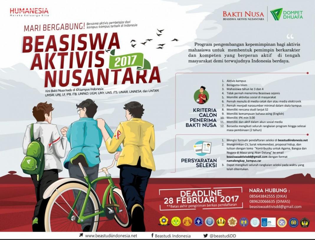 Seleksi Nasional Beasiswa Aktivis Nusantara 2017