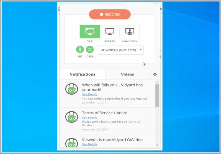 Vidyard : Δημιουργήστε καταγράψτε και παρακολουθήστε βίντεο  μέσω του Google Chrome