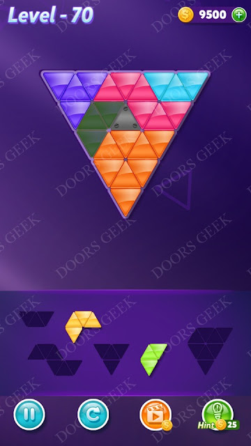 Block! Triangle Puzzle 5 Mania Level 70 Solution, Cheats, Walkthrough for Android, iPhone, iPad and iPod