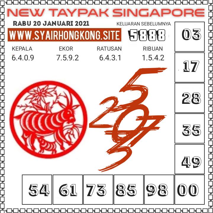 Prediksi New Taypak Singapore Rabu 20 Januari 2021