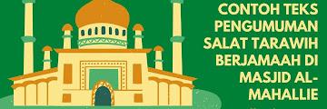 Contoh Teks Pengumuman MC Salat Tarawih