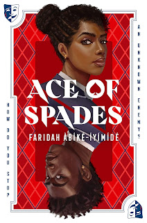 Two black teenagers, a guy and a girl shown in profile with their heads slightly turned, stare towards the camera with serious expressions. The guy's image is below the girl's an upside down, the aesthetic of the card is like a face card from a playing card deck.