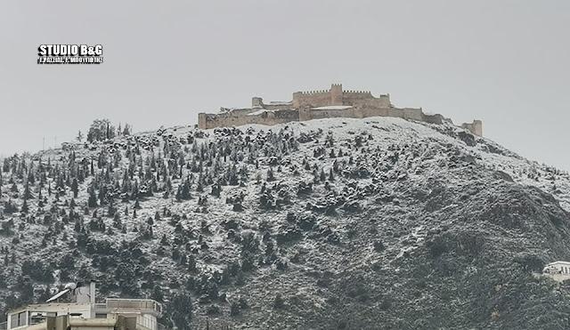 Άσπρισε το κάστρο του Άργους από τα χιόνια