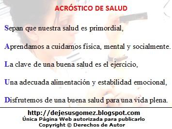 Imagen del acróstico de la palabra salud con imagen de fondo de Jesus Gómez