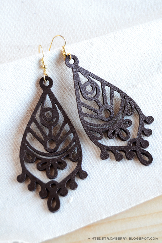 pretty cutout DIY leather earrings