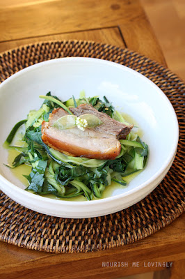 Wild garlic courghetti with roast pork
