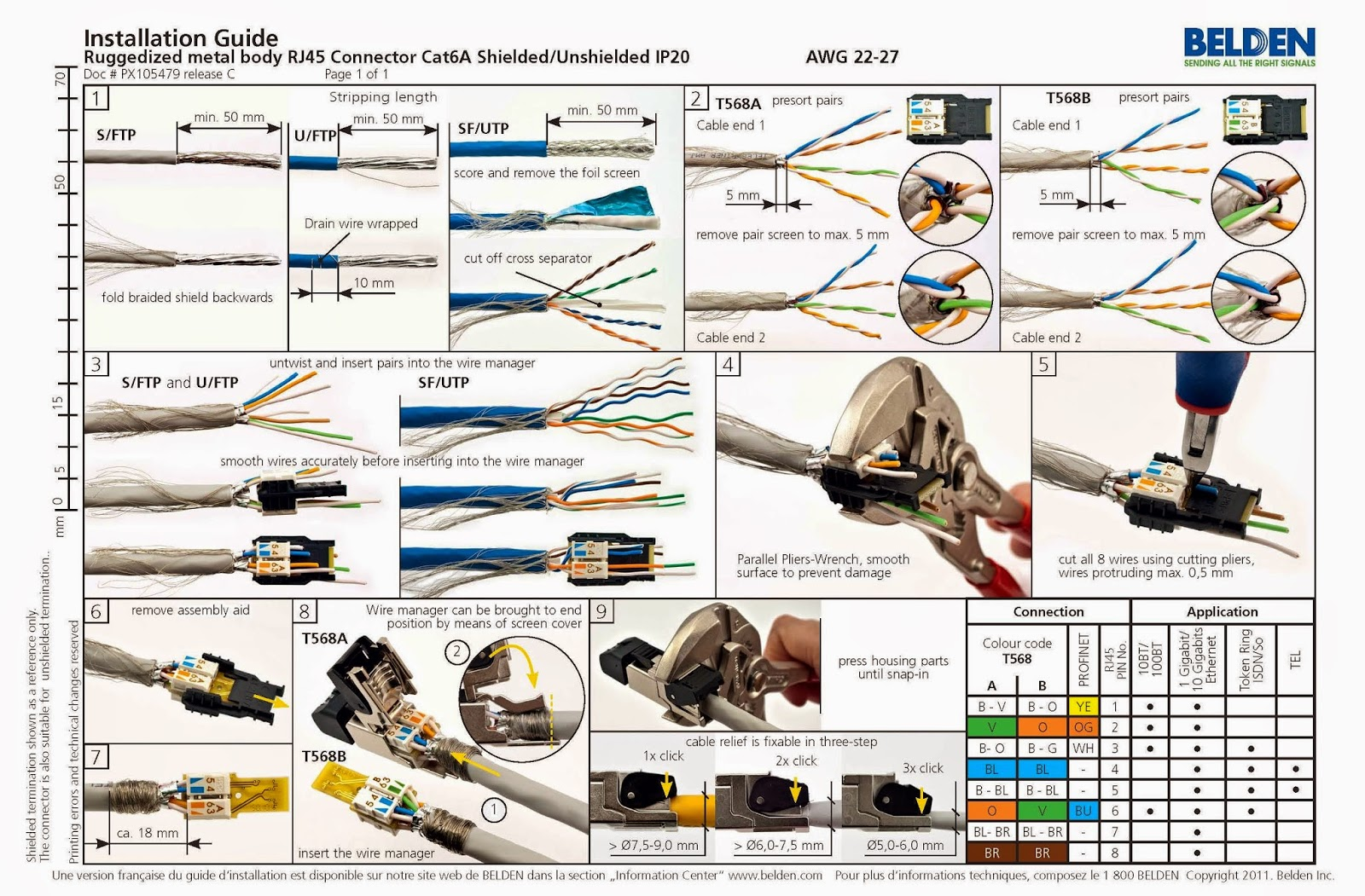 Cat5e T568b Wiring Diagram Installation Instructions For An Rj45 Modular Plug On Shielded Cable