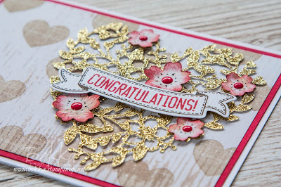 Rustic Hearts and Flowers Engagement Card Made with Stampin' Up! UK Supplies