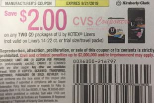 """$2.00/2 U by Kotex Liners Coupon from """"Smart Source"""" insert 8/11/19 (EXP: 9/21)."""