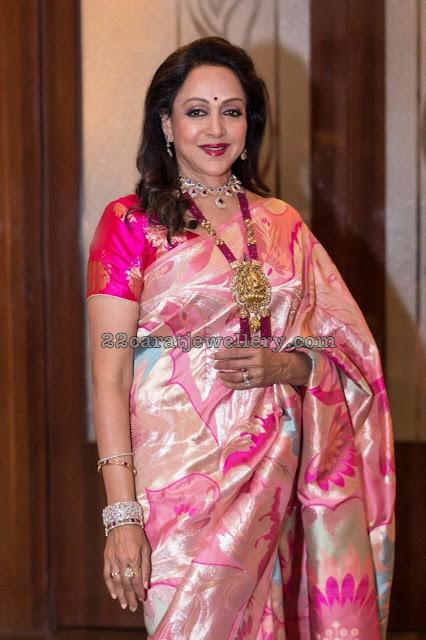 Hema Malini Ruby Beads Set Ganesh Locket