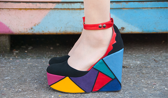 Madame Flamingo, platform heels, rainbow shoes