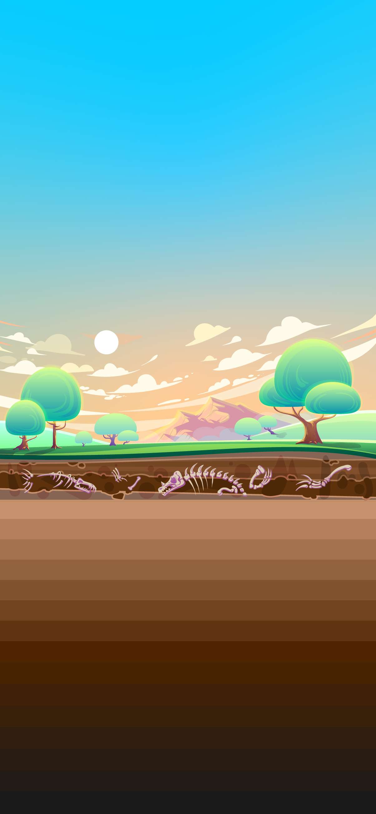 Valley and cross section of soil with fossils Free wallpaper phone hd 4k