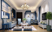 Mediterranean living room interior design with blue color