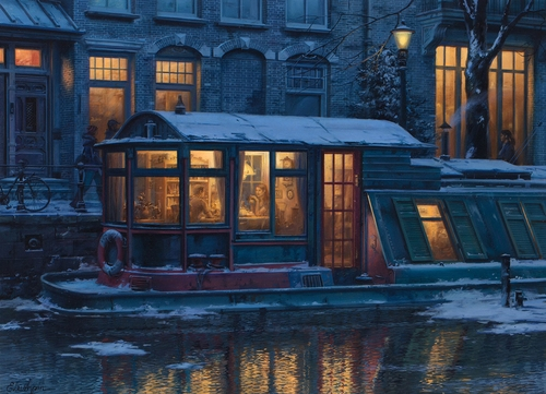 10-Evening-Tea-Time-Evgeny-Lushpin-Scenes-of-Realistic-Night-Time-Paintings-www-designstack-co