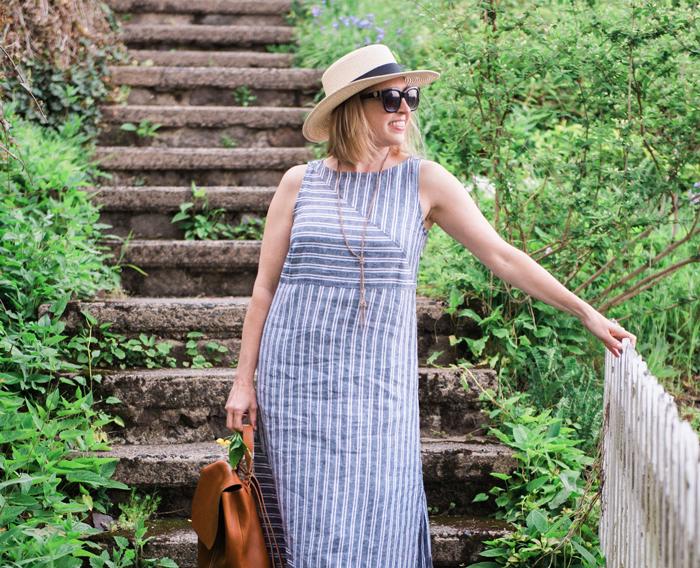 J.Jill long stripe linen dress