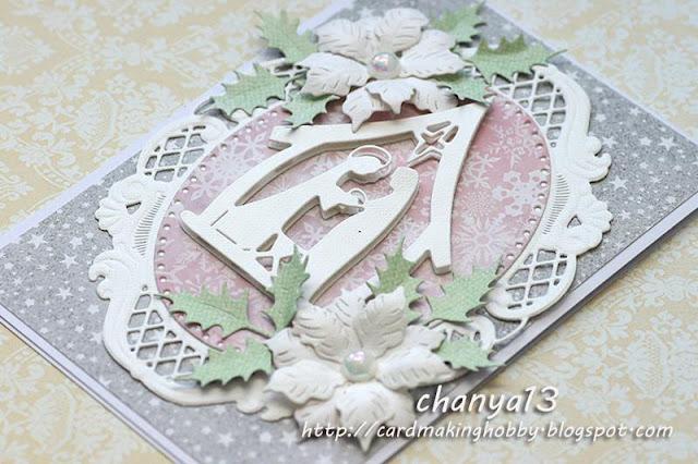 bozonarodzeniowa kartka z pastelowym różem