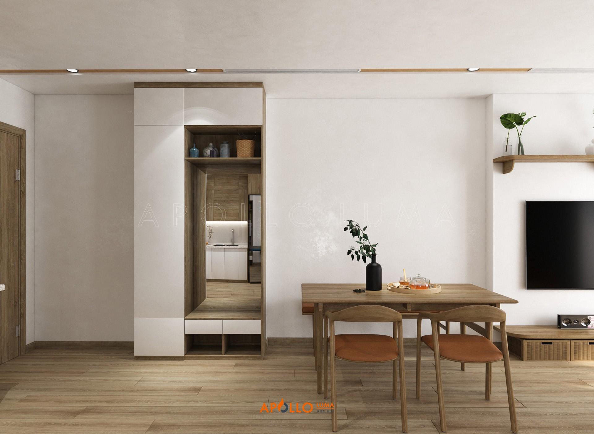 Thiết kế nội thất căn 55m2 (2PN+1WC) S4.02-08 Vinhomes Smart City Tây Mỗ