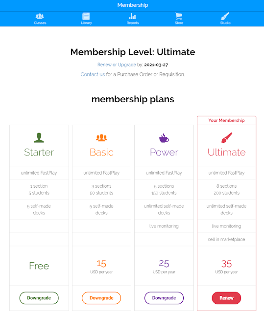 BOOM Learning Subscription Levels as of March 2020