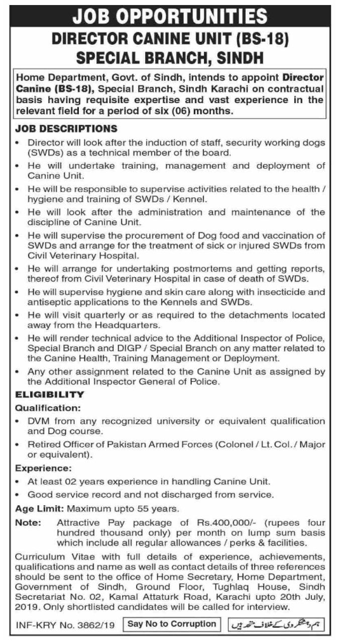 Latest Home Department Management Posts Karachi 2019