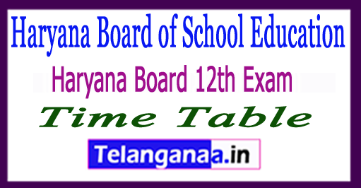 HBSE 12th Exam Time Table 2018