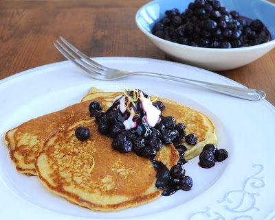 Cornmeal Pancakes with Blueberry Compote, simple recipe for cornmeal pancakes with a simple blueberry compote. Just one more reason to Make Tonight #PancakeNight.