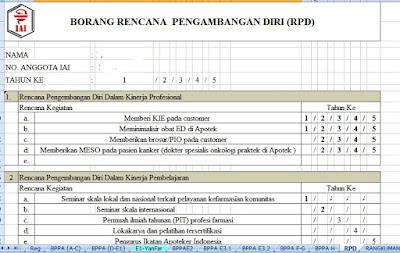 Lembar Rencana Pengembangan Diri (RPD) Apoteker 5 tahun ke depan