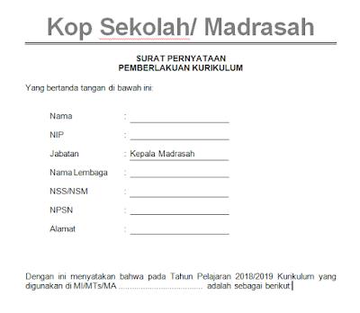 Surat Pernyataan Pemberlakuan Kurikulum 2013 SD MI SMP MTs SMA MA SMK MAK