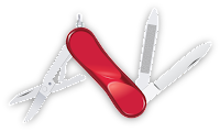 Canivete Suiço aberto mostrando lâmina, lixa e tesoura