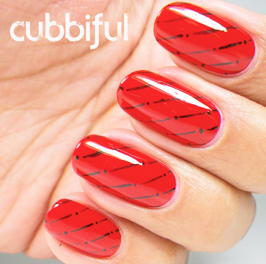 elegant pattern on red nails
