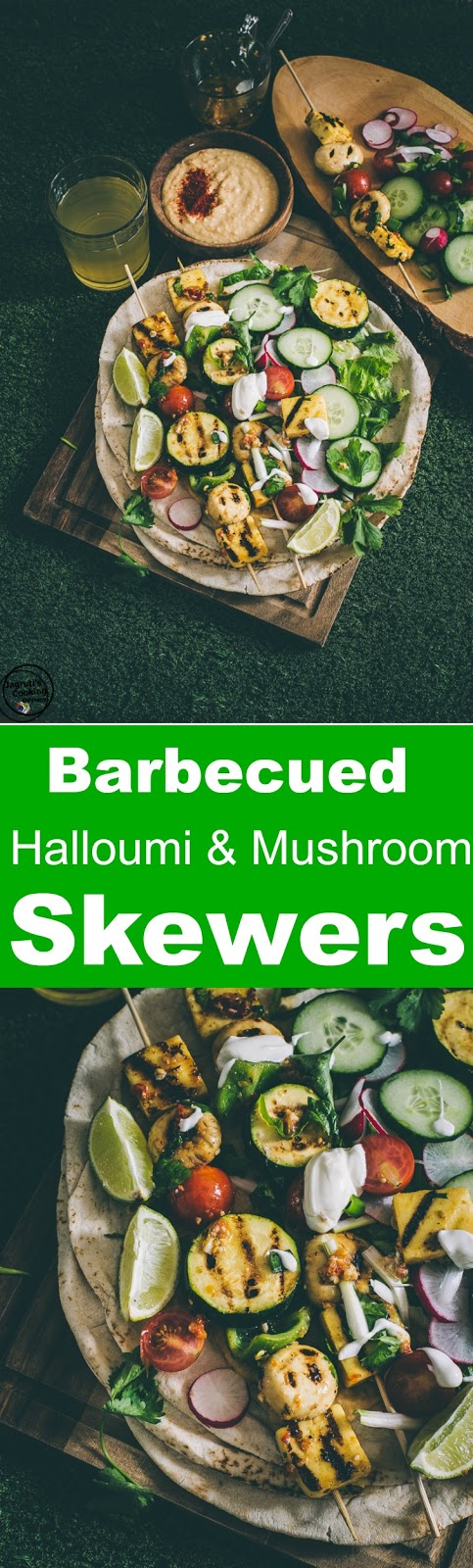 Barbecued Halloumi and Mushroom Skewers