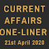 Current Affairs One-Liner: 21st April 2020