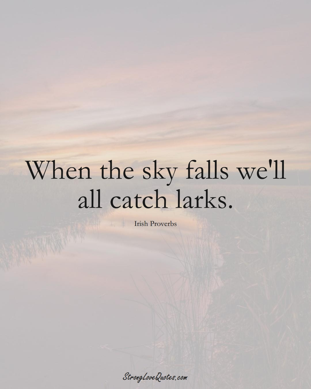 When the sky falls we'll all catch larks. (Irish Sayings);  #EuropeanSayings