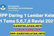 RPP Daring 1 Lembar Kelas 1 SD/MI Tema 5, 6, 7, 8 Semester Genap Revisi 2021