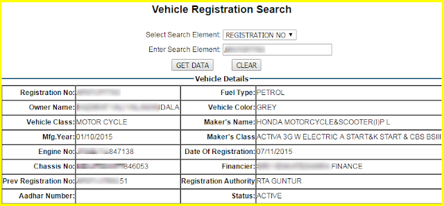 vehicle registration search detials with makers name