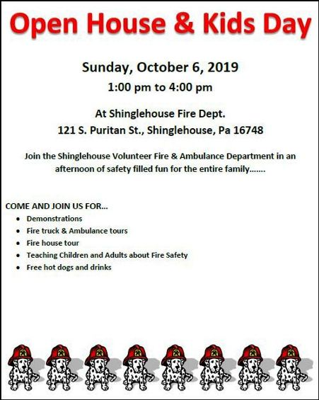 10-6 Open House & Kids Day, Shinglehouse VFD