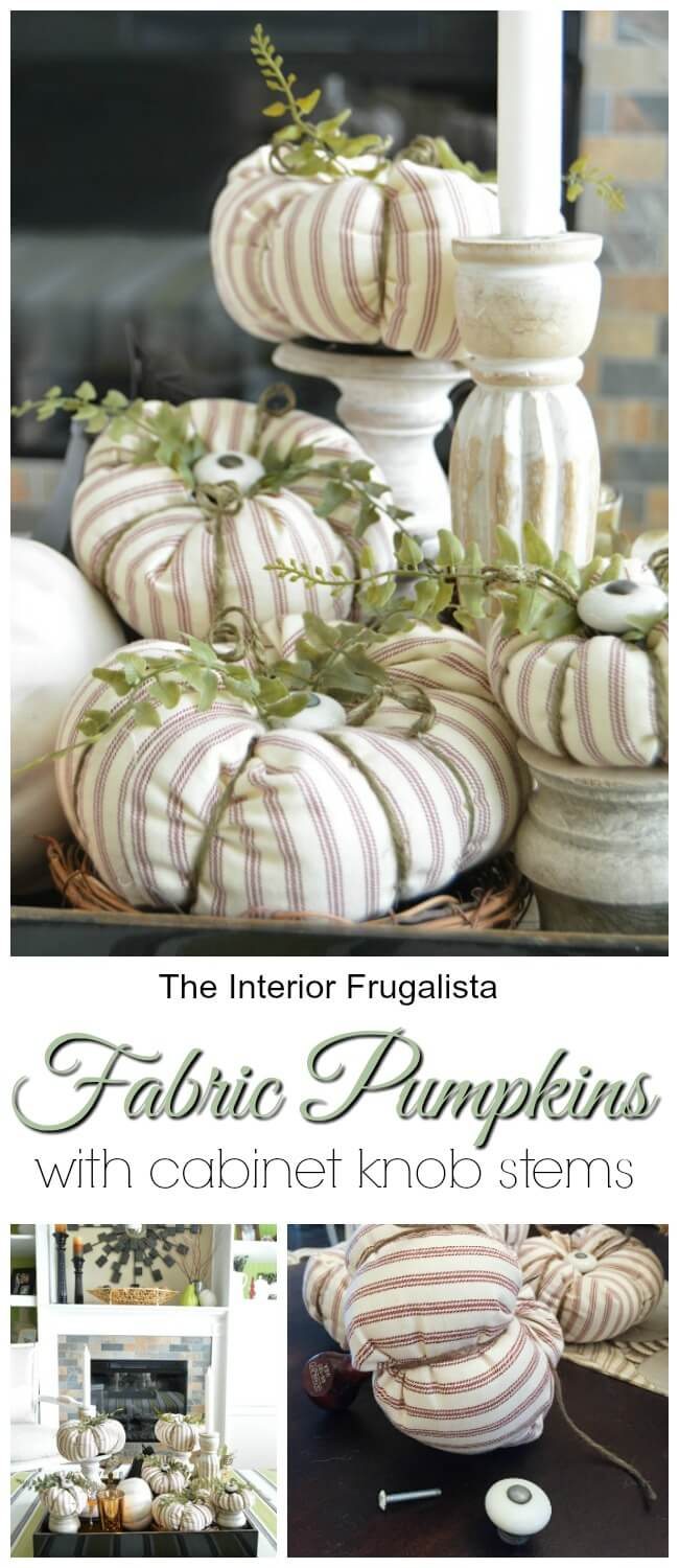 Fabric Pumpkins With Cabinet Knob Stems