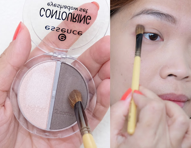 a photo of How to contour the eye area using Essence Contouring Eyeshadow Set.