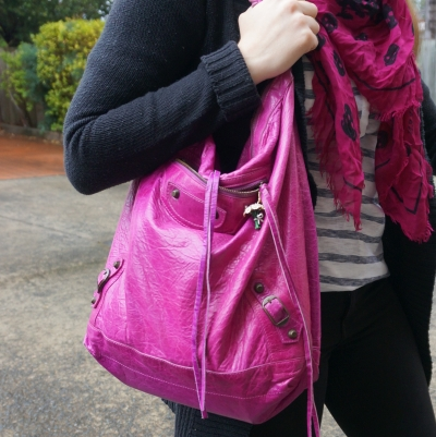 Magenta accessories with stripes and black cardigan: Balenciaga Day bag | AwayFromTheBlue