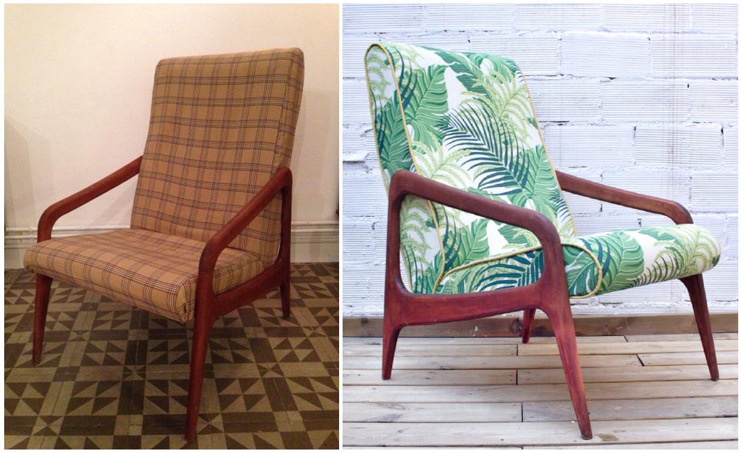 sillón tapizado estampado vegetal