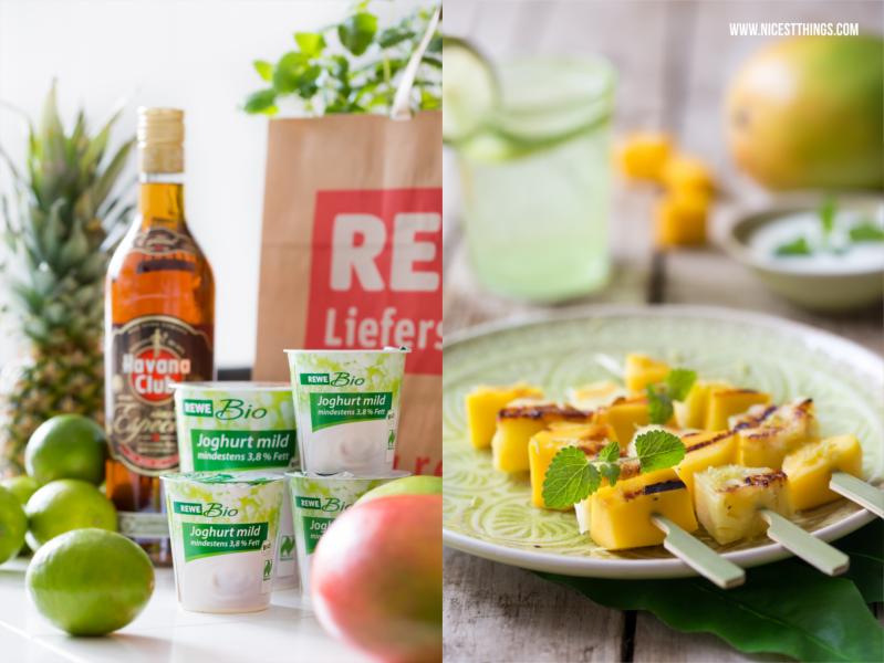 Rezept von REWE Gegrillte Ananas-Mango-Spiesse