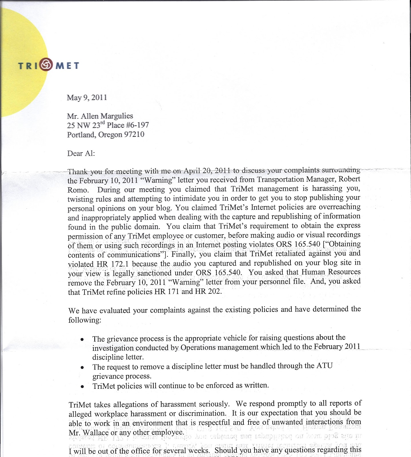 grievance outcome letter template - grievance letter template