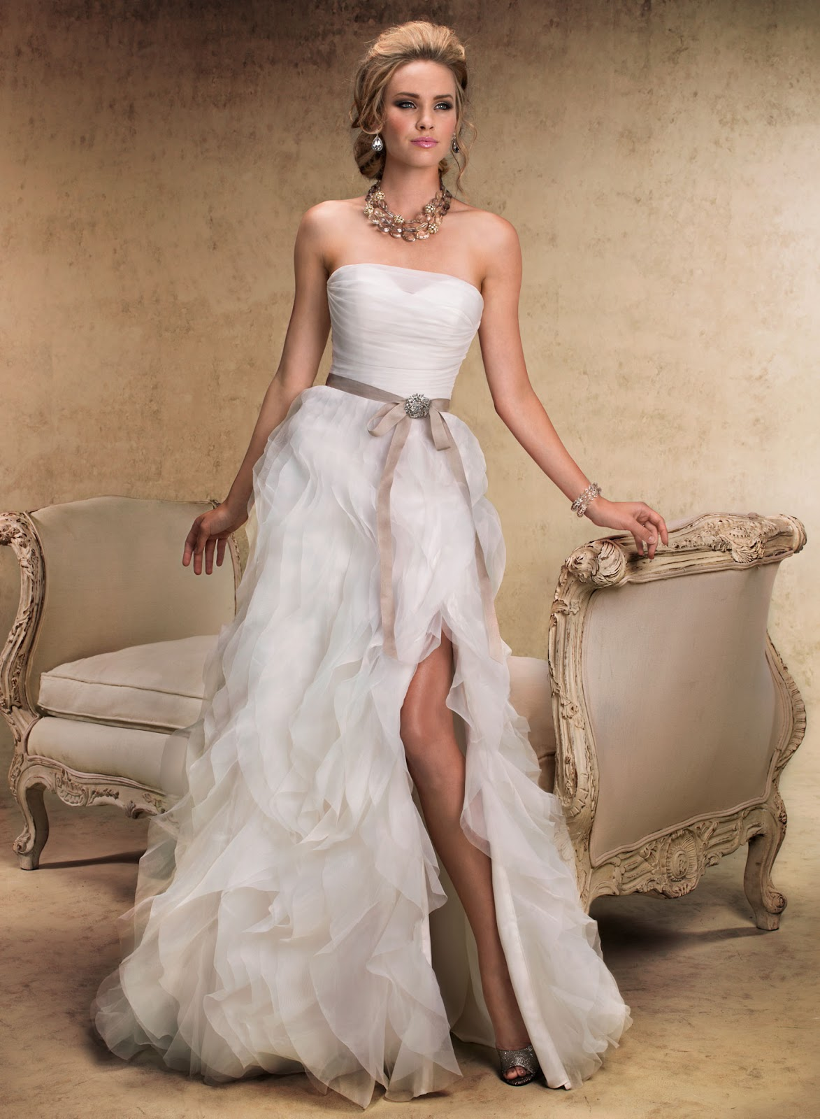 Y Wedding Dresses Dress Made Of Organza With Ruffled Skirt And Colored