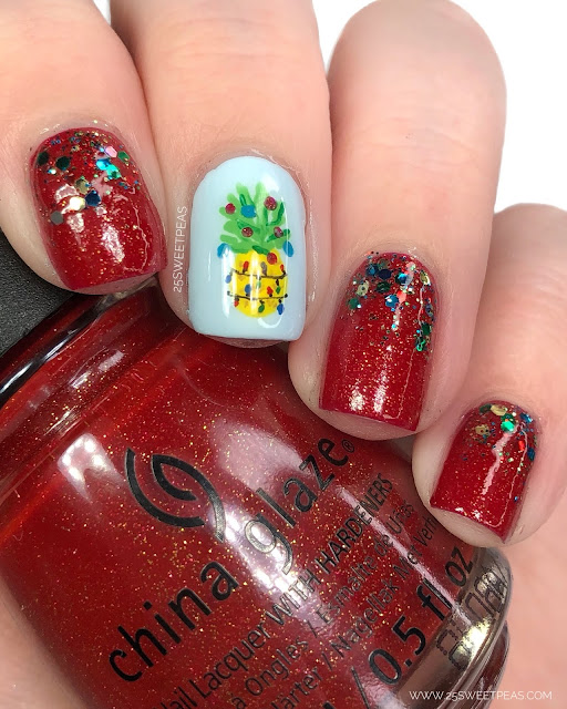Pineapple Christmas Nail Art