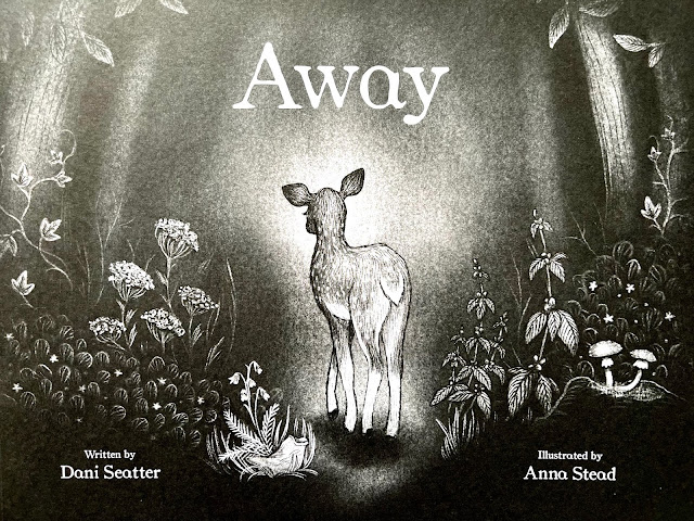 front cover of a book called away which talks about the impact of littering with a black and white drawing of woodland with a deer on