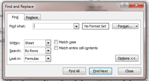 Find and Replace dialog box in cell-Excel