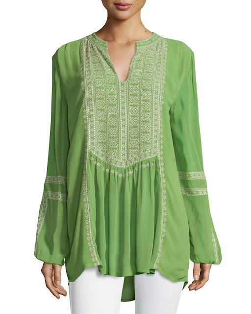 Green Lime Embroidered Boho Blouse