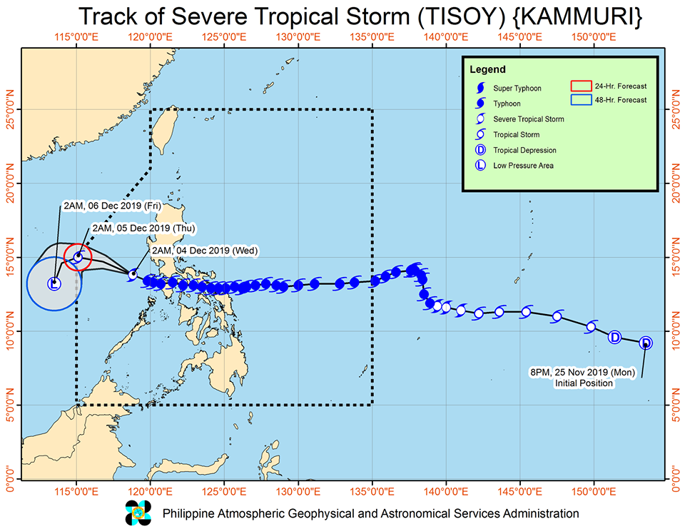Latest track of Severe Tropical Storm Tisoy | via DOST-PAGASA