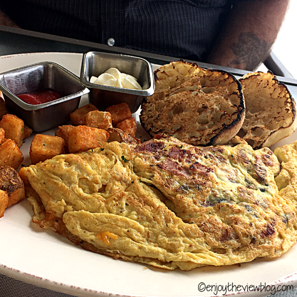 Bacon & cheese omelet at Sunset Bay Cafe in the Sandestin resort.