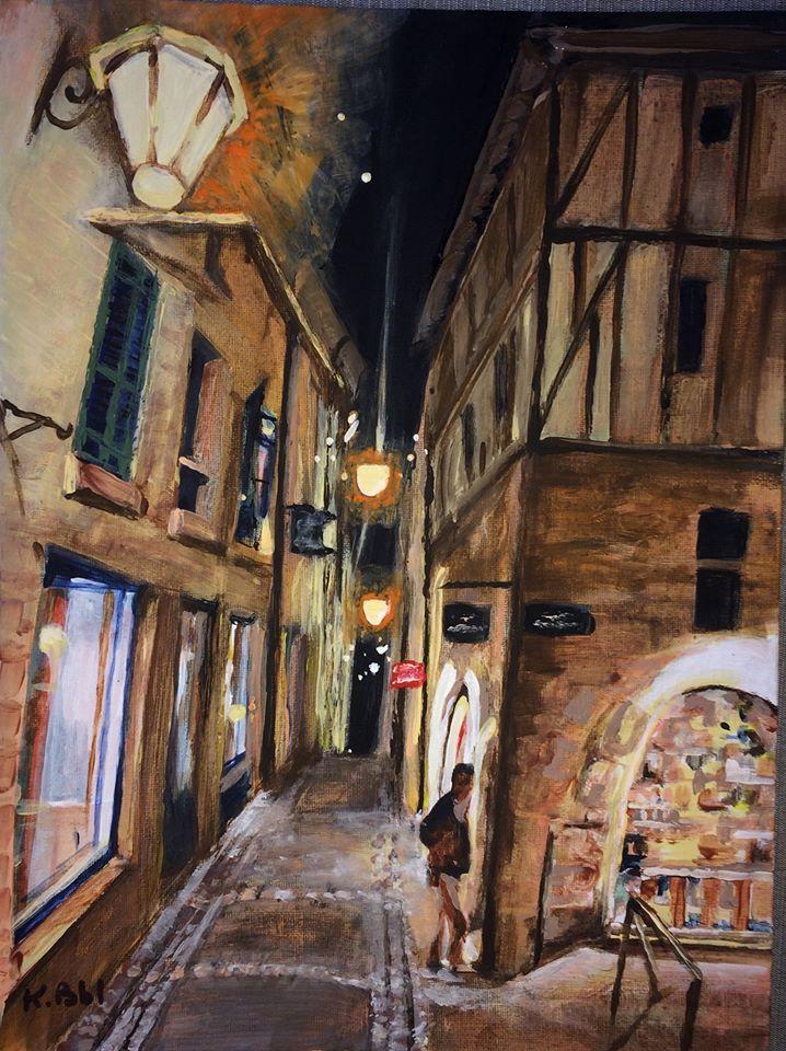 peinture acrylique, rue de la Bride à Périgueux, atelier Mataguerre