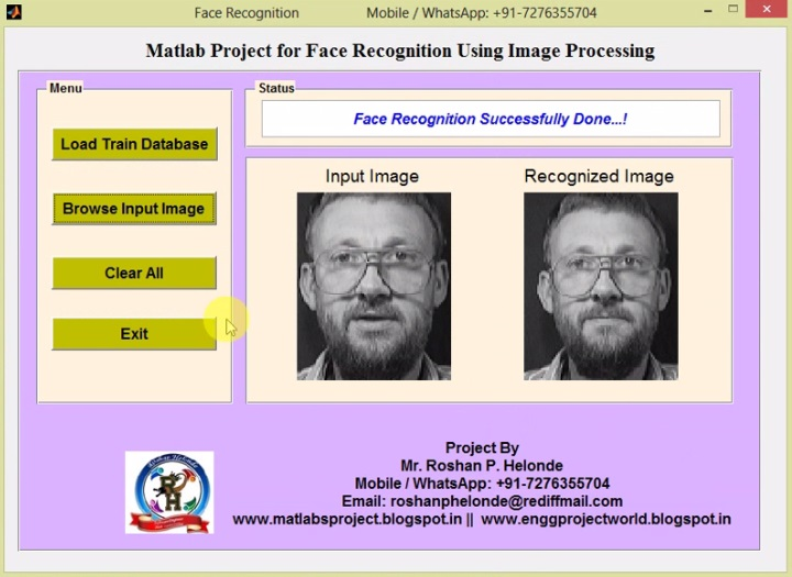 matlab code for face recognition in video